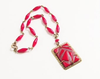 Vintage Art Deco Czech Necklace Red Glass 1920s Antique Jewelry signed