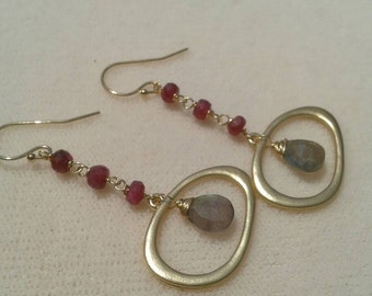 Long Ruby and Labradorite Gold Earrings - Modern Geometric Gemstone Earrings - Valentine's Day Earrings
