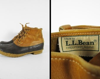 Vintage LL Bean Duck Boots Maine Hunting Shoe Leather Bean Boots - Size 10 M