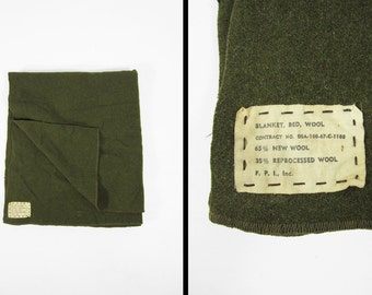 Vintage 60s US Army Wool Blanket Military Green Utility Throw Camp Blanket