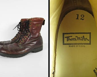 Vintage 70s Moc Toe Work Boots Thom McAn Brown Leather Made in USA - Size 12 E
