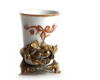 Vintage Matson Gold Gilt Ormalu Bird and Dogwood Cupholder and Porcelain Cup Gilt