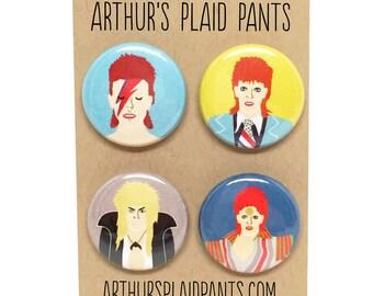 David Bowie pinback button set, magnet set
