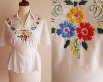 Vintage Peasant Blouse - 1960's  Embroidered Blouse  - Size S