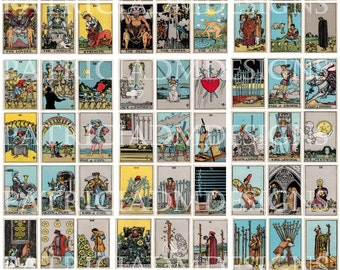 Rider Waite Tarot Cards- Set Of 78 Cards- Printable 3.5 X 2.5  Each Card / 9 Pages High Resolution -Instant Download