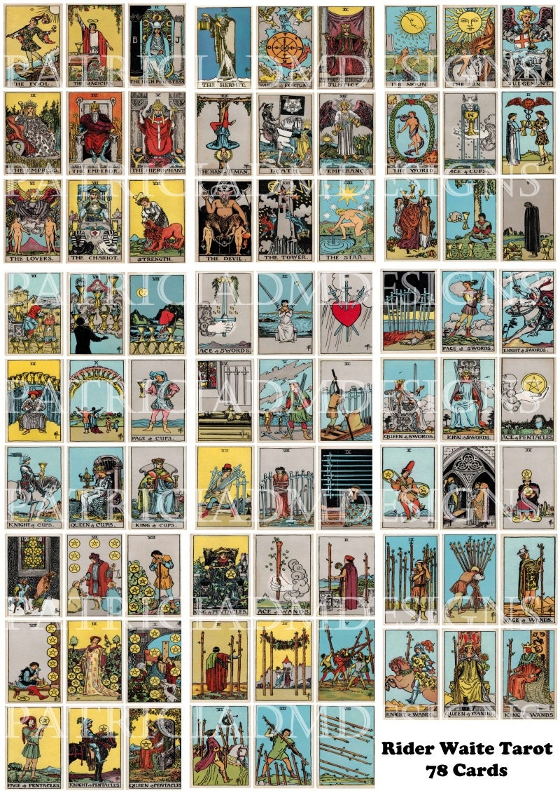 Rider Waite Tarot Cards Set Of 78 Cards Printable 3.5 X 2.5
