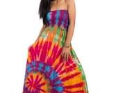 Tie dye dress, Smocked dress, rainbow dress, maxi dress, hand dyed dress, hippie dress, festival dress  : Funky Tie Dye Collection No.1