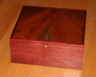 Watch Box, Jewelry Box, Valet, Keep sake, Handmade,  Purple Heart, Sapele (JB0070)