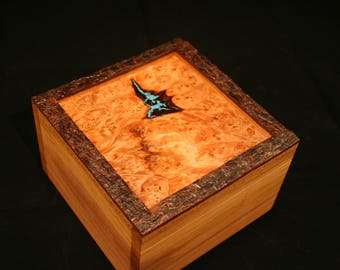 Jewelry Box, Heirloom Box, Watch Box, Spalted Maple, Live Edge Crab Apple, Western Red Cedar, Turquoise, Ebony (SB0079)