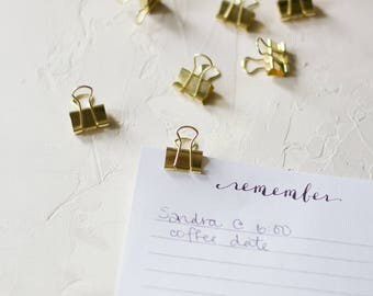 Gold Small Metal Binder Clips - 12 pc