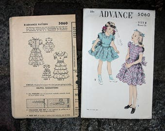 Vintage 50s Sewing Pattern Girl's Party Dress Tiered Flounced Skirt Back Bow Size 8 ADVANCE 5060 Unused in Factory Fold