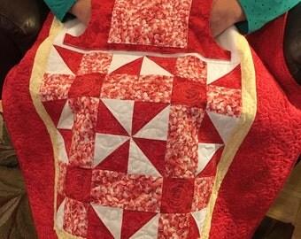 Valentine's Lovie Lap Quilt with Pockets