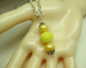 Lemon Yellow Snowball Lampwork Bead Necklace