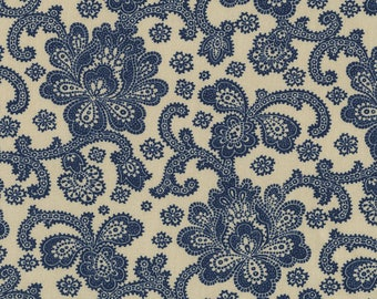 La Vie En Blue - Straw Production Floral from Timeless Treasures