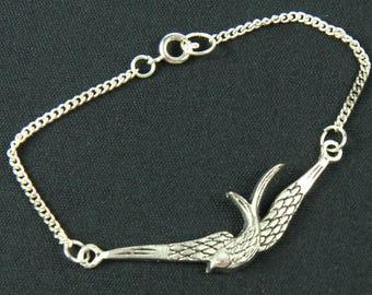 Swallow Swallows Bird Birds Miniblings Bracelet Wristlet Dangle silver