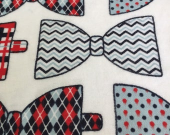 """Extra Large Flannel  Swaddle Receiving Blanket. 100% Cotton Flannel - 40""""x 40"""" Bowties."""