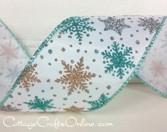 "Wired Ribbon, 2 1/2"", Turquoise Blue, Gold, Silver Iridescent Glitter Snowflakes - THREE YARDS -  ""Frozen Flakes"" Christmas Wire Edged"