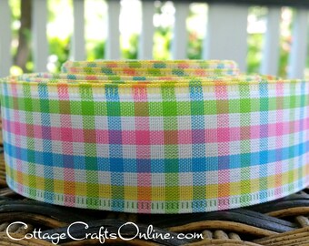 """Wired Ribbon 1 1/2"""",  Pink, Yellow, Blue, Green White Gingham Check - TEN YARD ROLL -  Plaid Mini Check Spring, Summer Wire Edged Ribbon"""