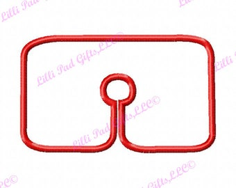 Trach Tube Cover-Rectangle - Applique - Machine Embroidery Design