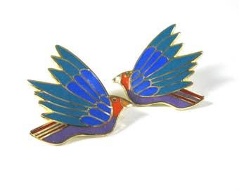 LAUREL BURCH Earrings, Blue Bird, Celeste, Signed, Post Earrings, Turquoise Enamel, Enameled, Gold Tone, Colorful, Gift Idea, Excellent