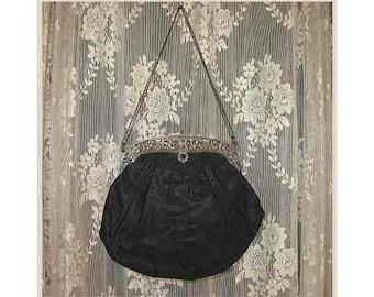 Antique 1900s Black Moire Silk Purse Evening Bag, Ornate Silver Plated Openwork Frame Clasp Opening,  Louise D. Landen, Cincinnati