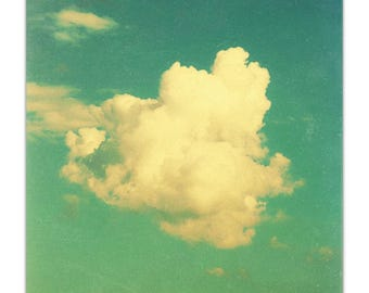 cloud photography art, modern nursery art, aqua wall art - Poof, large art photograph print or canvas