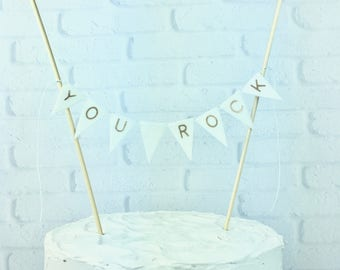 Sei un grande regalo di Banner, Banner bianco Mini Cake, torta per geologo, compleanno di amante del Rock, Birthday Cake Topper