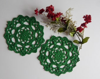 "Small Crochet Doily Pair - Green - Lacy Small Mini 6"" - Set of 2"