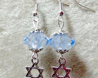 Star of David Earrings - Lightweight Acrylic Crystals - Light Sapphire