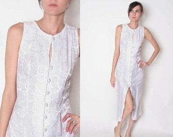 HUGE SALE Vintage White Dress / floral / High Slit