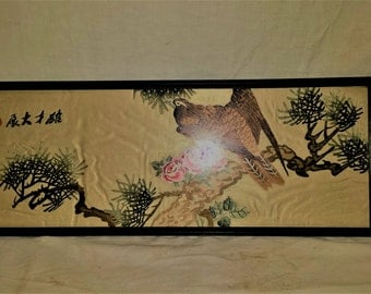 Antique Chinese HAND EMBROIDERED Art Silk Framed