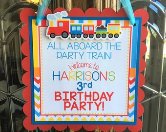 Choo Choo Train Birthday Party Personalized Welcome Door Sign - Train Party Decorations - Train Door Hanger