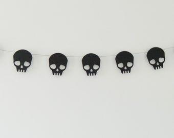 Skull Garland, Black Skull Garland, Skull Banner, Black Garland