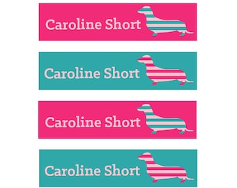 FAST SHIPPING! Fabric Name Labels, Clothing Name Labels, Clothing Name Tags, Iron-On, School Labels, Daycare, Girl, Dachshunds, Pink Teal