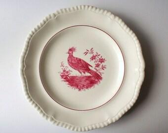 Copeland Spode Blackbird, red transferware plate