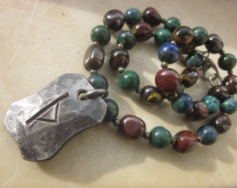 Thurisaz Rune with Tiger Iron and Chrysocolla Lapislazuli Necklace