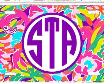 Personalized License Plate- Monogrammed Car Tag- Perfect Sweet Sixteen Gift - Lilly Inspired Flamingo