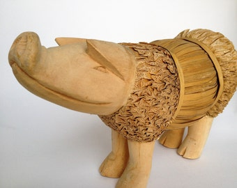Folk Art Pig Corn Husk and Wood