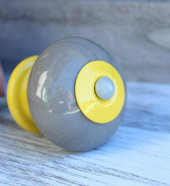 Yellow gray cabinet knobs ceramic knob dresser knob for Children s bureau knobs