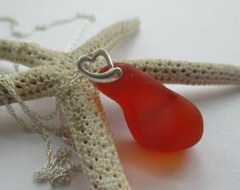 Orange Sea Glass Sterling Silver Necklace