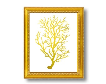 Gold Metallic Coral Vintage Style Nautical Art Print Beach House Decor