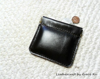 100% hand stitched handmade soft chocolate brown cowhide leather flex frame pouch for coin, trinket, jewelry, cord, ear buds, ipod, etc.