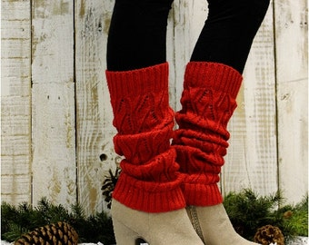 Leg Warmers, WINTER, black friday, cyber monday, sale, gifts, christmas, , knit, knitted, women, slouch, boots, cuffs, RED | LW0