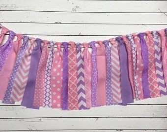 WEEKEND SALE Ends Sunday Pink, Purple/Lavender Rag Tie Banner, Ready To Ship Garland/Banner Photo Prop