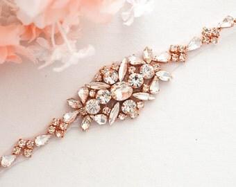 ROSE GOLD SALE Wedding Belt, Bridal Belt, Sash Belt, Crystal Rhinestones sash,vintage sash belt