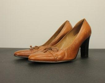 Size 7 Vintage Women's High HEELS Pumps Shoes Cognac Brown Leather Lace Up Shoestring Tie Round Toe Mod Retro Boho