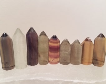 Fluorite Points, 9 pcs, Matched Pairs, Side Drilled, Energetic Stones #4med