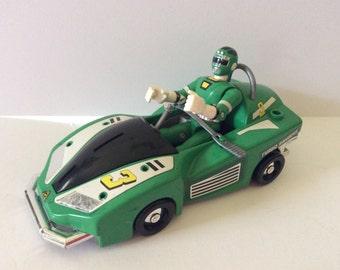 Power Ranger Car Figure Green - Vintage -  Might Morphin - Green Power Ranger - Power Ranger Car - Green Figure - Boys Room - Bandai 1997