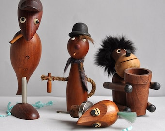 "Danish ""Charlie"" Bird Bottle Opener & Corkscrew - Set of 4"