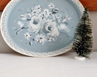 Vintage Blue Floral Toile Metal Tray